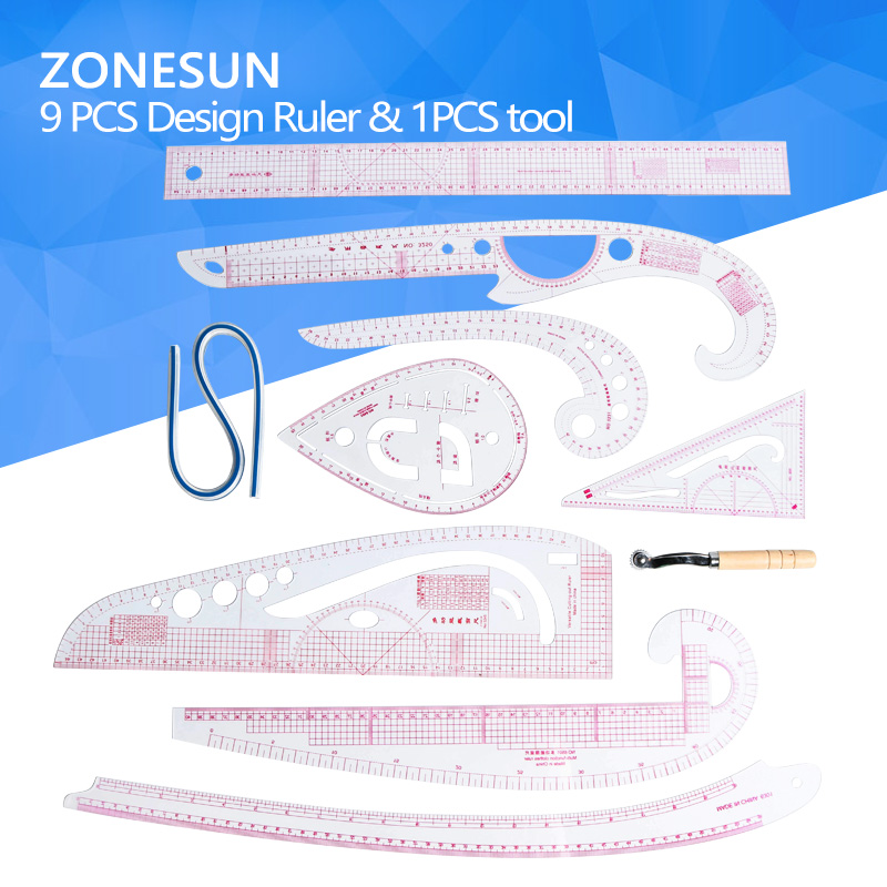 ZONESUN Screwing Measuring Tool Clothing Design Angle Ruler 9pcs Ruler 1 pcs Tool Free Shipping Cost 300mm multifunctional combination square ruler stainless steel horizontal removable square ruler angle square tools metal ruler
