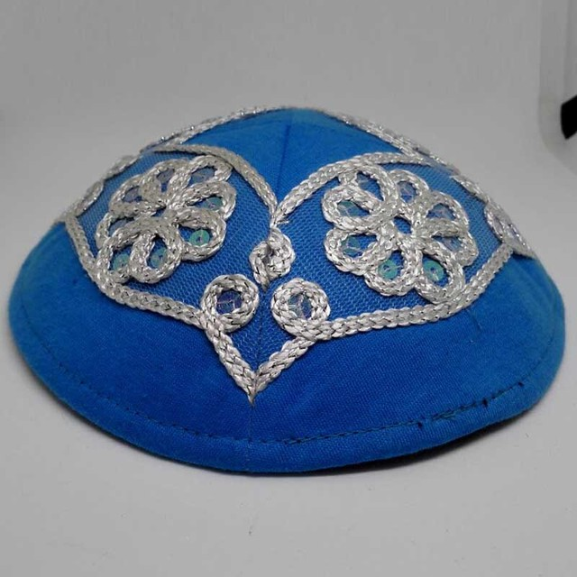 Embroidery kippa, Linen kipa, Judaism kipot,  yarmulke, skull cap jewish hat