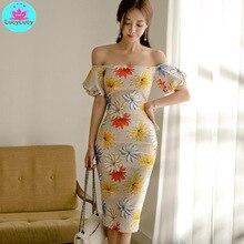Women's 2019 summer Korean new ladies temperament word collar Slim bag hip print dress Knee-Length knee length print day dress