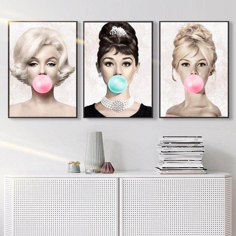 Audrey Hepburn Marilyn Monroe Movie Canvas Art Print Picture Framed Wall Decor