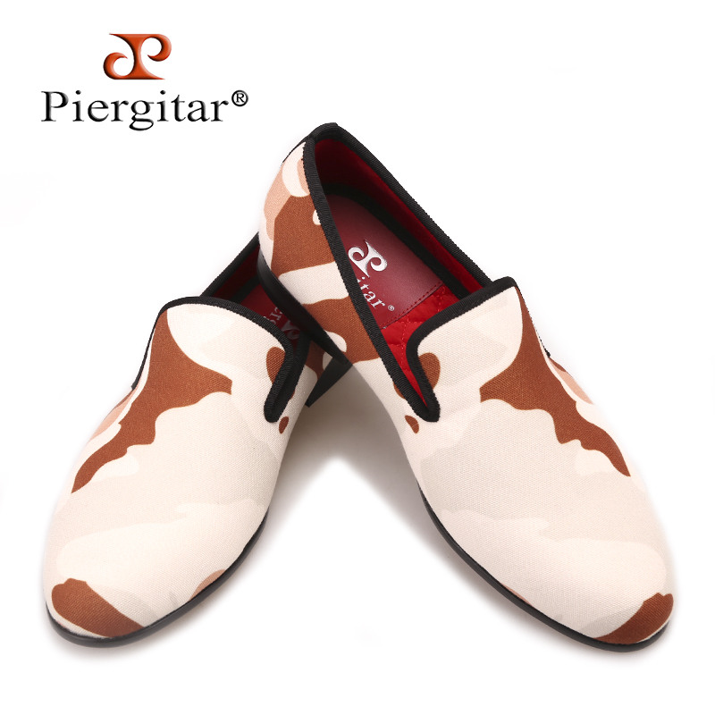 Piergitar new style Classic camouflage men's canvas shoes British style fashion party and prom men loafers male smoking slippers fashion style