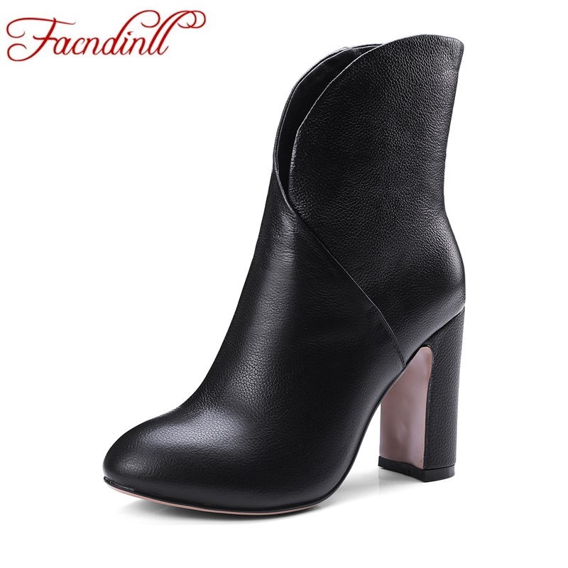 FACNDINLL 2017 fashion handmade boots for women genuine leather ankle boots autumn winter shoes woman dress party casual boots facndinll genuine leather sandals for