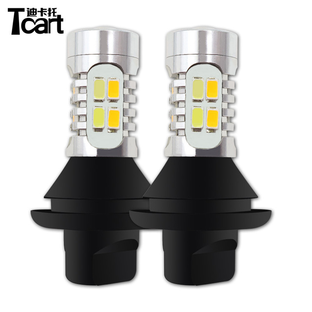 Tcart 2pcs Auto Led DRL Daytime Running Light Turn Signals PY21W 1156 Car White+Golden Lamp For Mitsubishi Outlander 3 2013-2015