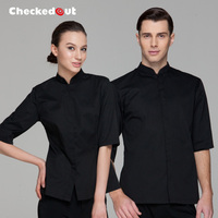 Free Shipping Waiter Uniform Checkedout Waiter Clothes Cheapest Restaurant Waiter Shirt