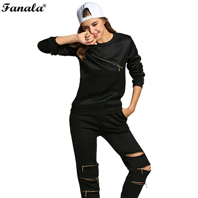 Time limit Big promotion 2017 Fashion Women Sporting Suit Zipper Hollow Out Women Two Piece Set