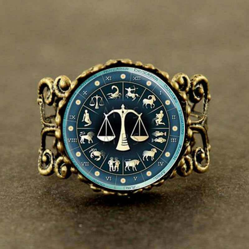 Steampunk 2017 New Libra Zodiac Jewelry Astrological Sign Scales September October Birthday Astrology Ring