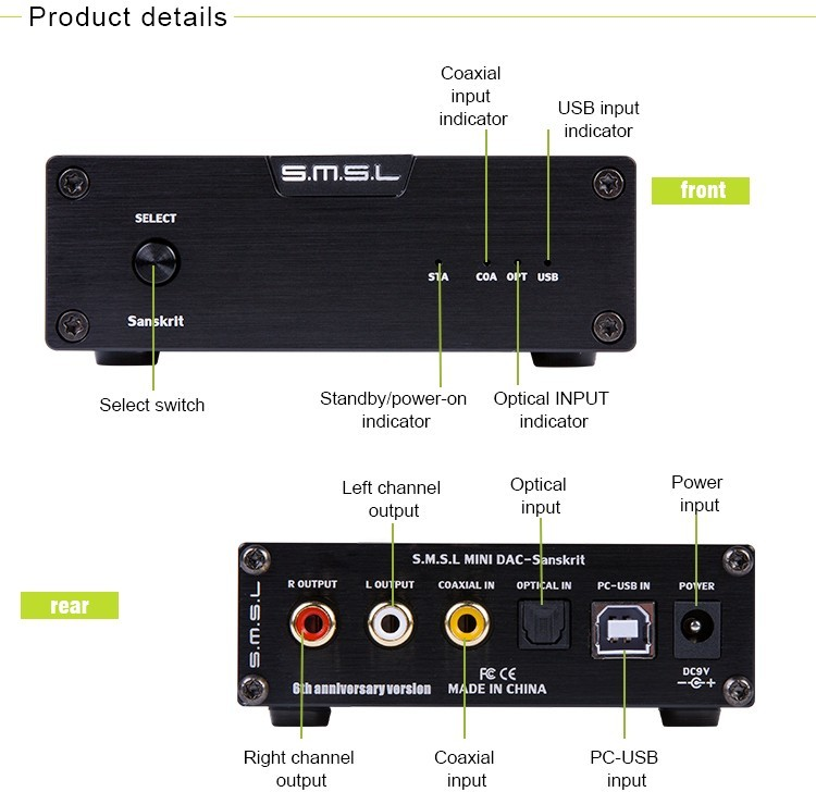 SMSL Latest 6th Sanskrit USB DAC 32BIT192Khz Coaxial SPDIF Optical Hifi Audio Amplifier Decoder New Version With Power Adapter
