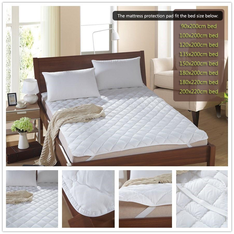 white bed protection pad quilted mattress protector hotel mattress ...