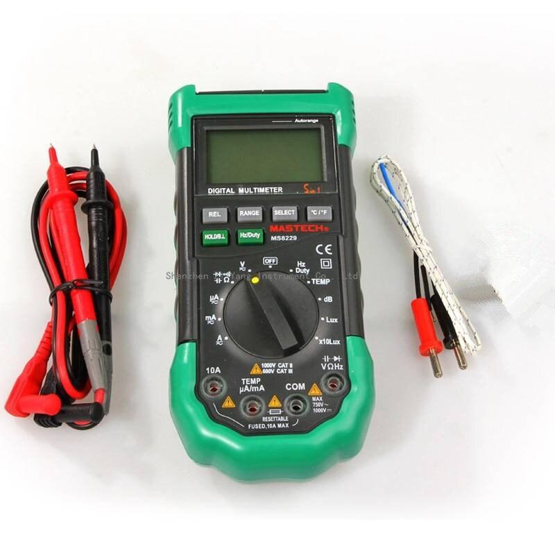 Original mastech MS8229 5 IN1 multímetro digital de rango automático multifunción Lux nivel de sonido temperatura humedad tester meter
