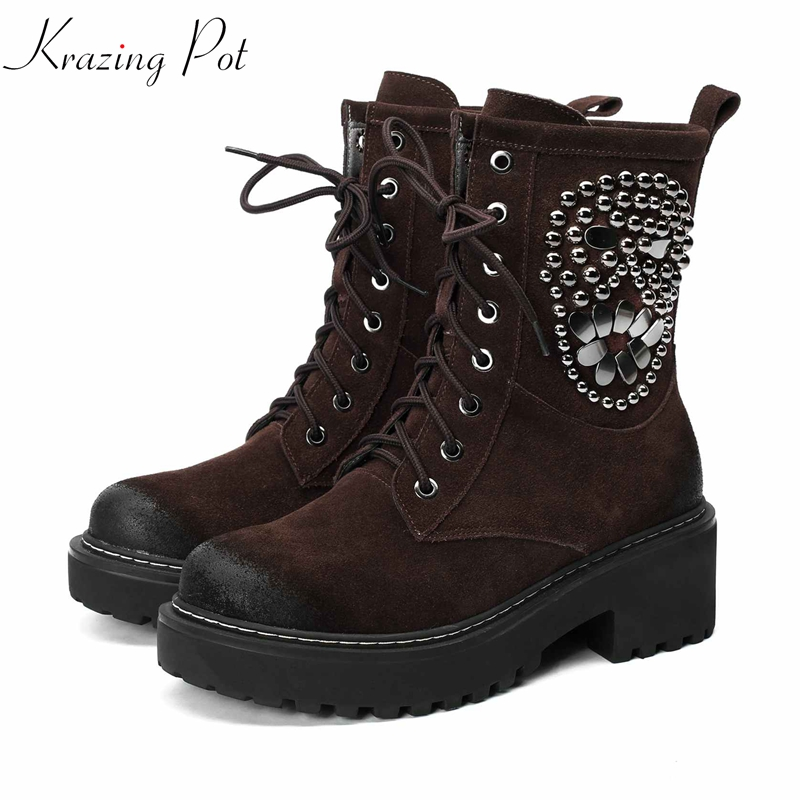 Krazing Pot new cow suede string bead rivets decoration motorcycle handmade lace up high heels round toe Chelsea ankle boots L08 krazing pot cow suede fashion winter big size round toe art square high heels embroidery women flowers ankle chelsea boots l15