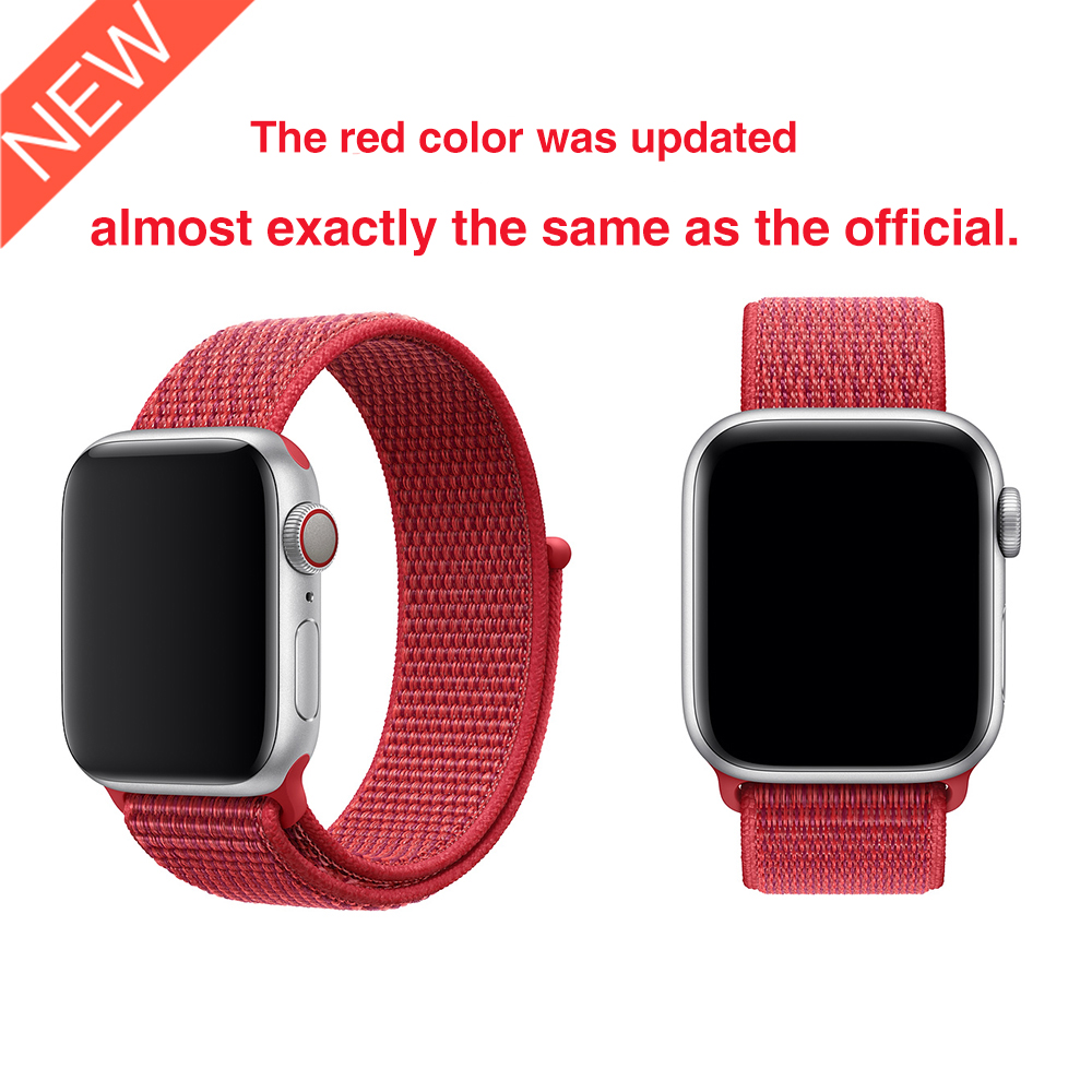 New Red Woven Nylon Sport Loop Band For Apple Watch Series 5 4 44mm 40mm Watchstrap Bracelet Bands For Apple Watch 42mm 38mm 3 2