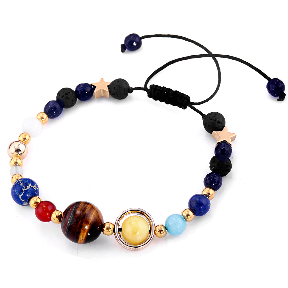 Universe Galaxy Eight Planets In The Solar System Guardian Star Lava Reiki Natural Stone Beads Bracelet & Bangle Adjustable 1pcs ...