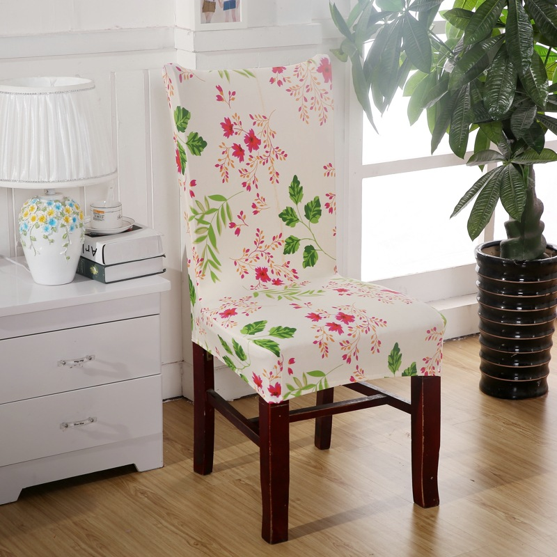 Ivory Flower Chair Covers Cheap Jacquard Stretch For Dining Room Decoration Short Half Machine Washable V43