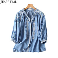 2017 New Women Denim Shirts Autumn Fashion Ethnic Embroidery Blouse High Quality Plus Size Casual Jeans