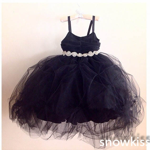 Cute little black dress ankle length ball gowns with crystals sash lovely birthday pageant glitz prom dresses girls frocks lovely pink puffy tulle ball gowns with flowers beautiful wedding birthday prom evening dress with train for little girls