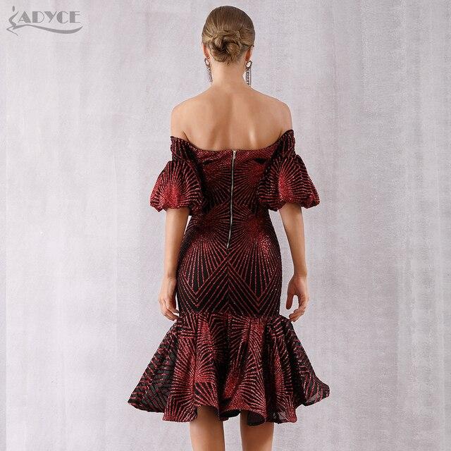 Adyce New Summer Bandage Dress Women Vestido 2019 Sexy Slash Neck Short Sleeve Off Shoulder Midi Celebrity Evening Party Dresses 2