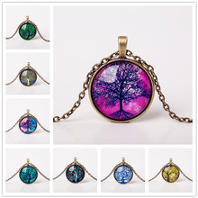 9 Colors Life Tree Pendant Necklace Glass Cabochon Bronze Chain Vintage Choker Statement Necklaces Fashion Women Jewelry Gift