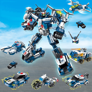 Image 3 - 6 In 1 City Police Series Building Blocks Kids Assembling SWAT Aircraft Car Robot Toy Block Compatible with Legoed for Children