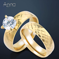 A&N Gold Plated Cubic Zircon Pair Rings For Women Solid Gold Plated Stainless Steel Engagement Wedding Ring Sets Love Jewelry