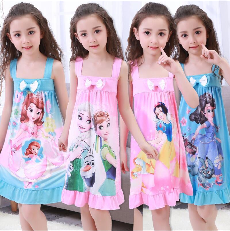 Spring and summer Big girls Nightgown Pajamas kids long sleeved nightdress cute cartoon child female baby sleeping dress 2-12 T
