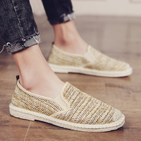 Mens Slip On Loafers Flat Heel Loafers Fisherman Canvas Outwear Casual Shoes New Cloth Breathable Flats