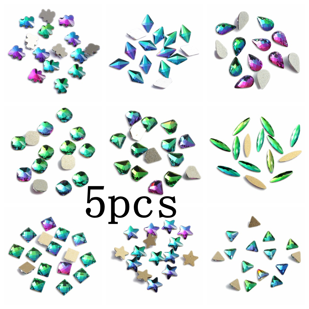 DIY Nail Art Gems 5pcs Rainbow Glass Rhinestone For Flatback Nail Stickers DIY Craft Art Charm Stones
