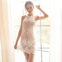 sling lingerie sexy temptation perspective lady women lace dress pajamas robe set embroidery