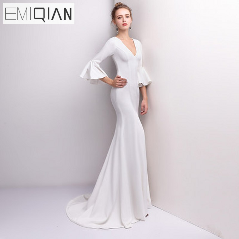 Aliexpress Com Buy Elegant Flare Sleeve Wedding Dress: Elegant Sexy Deep V Neck Mermaid Bridal Wedding Dress