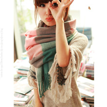 2018 new winter scarf high quality knitted scarf blanket Uneven hot tartan plaid Scarf
