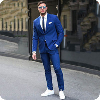 Formal Royal Blue Men Suits for Wedding Groom Tuxedos Groomsmen Suits Man Blazers 2Piece Business Man Wear Costume Homme