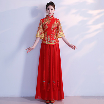 Pleated Chinese Traditional Red Women Cheongsam Big Size 3XL Vestidso Flare Sleeve Vintage Qipao Elegant Mandarin Collar Dress