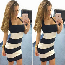 Frauen Sexy Neckholder Striped Bodycon Slim Strickkleid