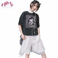 Le Toxique Masque Fille Impression À Manches Courtes Femmes T-shirts Chemise Conception originale Foncé Fille Vintage Pur Coton Japonais D'été T chemise