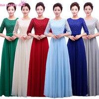 Dài royal blue màu xanh lá cây màu xám modest voan formal womens ren tay bridesmaid pageant party dresses với bow trên đầu trang B3765