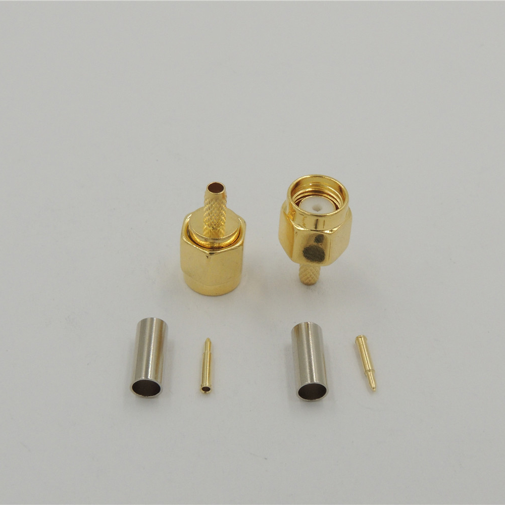 200 pcs gold plated SMA male plug Straight crimp RG174 RG316 LMR100 cable RF Coax connectors
