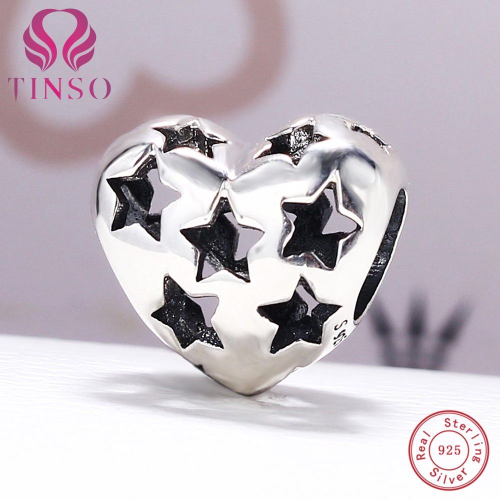 100% Authentic 925 Sterling Silver Heart with Star Charm Beads Fit Pandora Charm Bracelet DIY Original Silver Fashion Jewelry