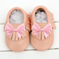 Bebé sapatos de Couro Genuíno mocassins bowknot franja primeiro Walkers Do Bebê Macio infantil marrom Franja crib Shoes 0-24month