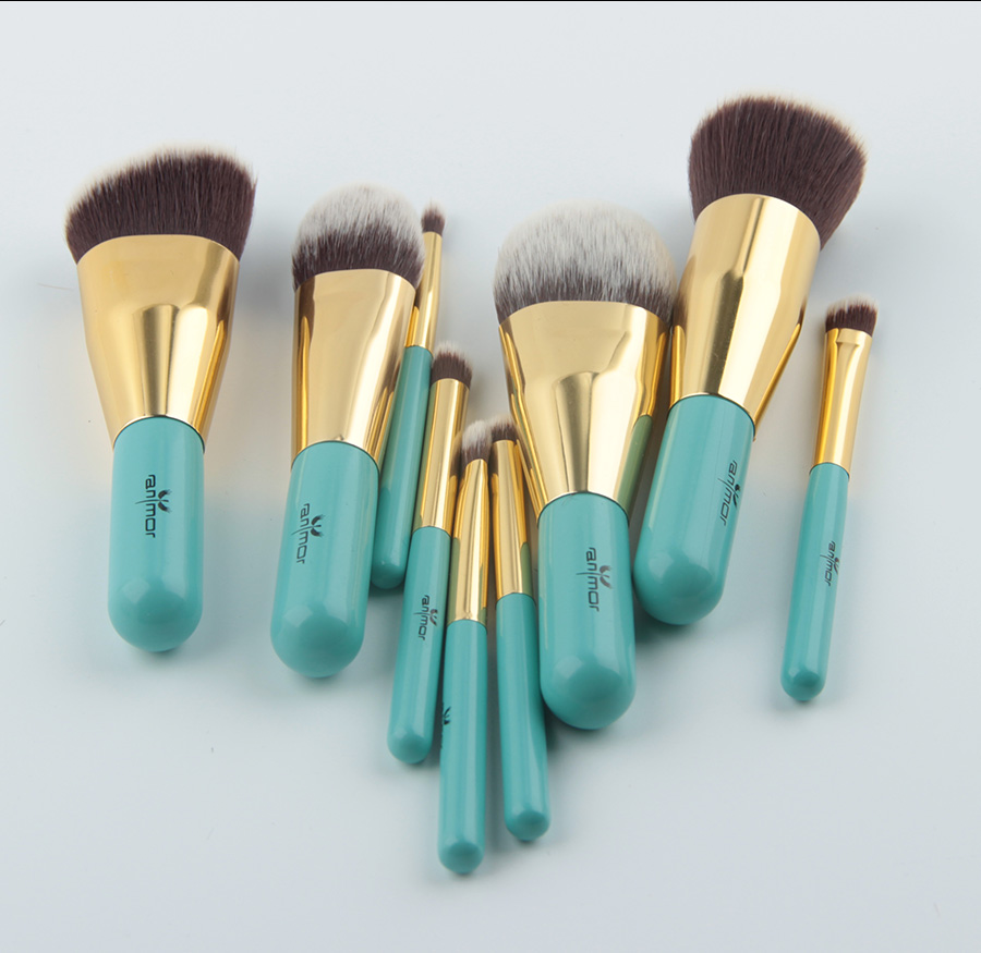 Anmor Voyages Maquillage Brosses 9 PCS Synthétique Cheveux Maquillage Brush Set Avec Sac Portable GM001 2