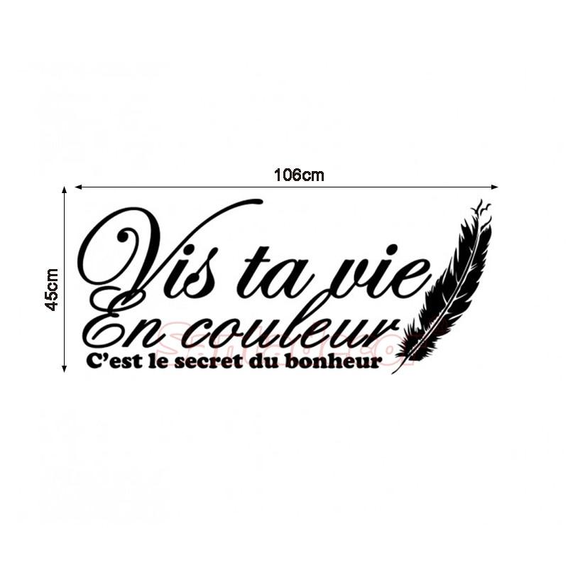 Wall Stickers French Citation Vis Ta Vie En Couleur Vinyl Wall