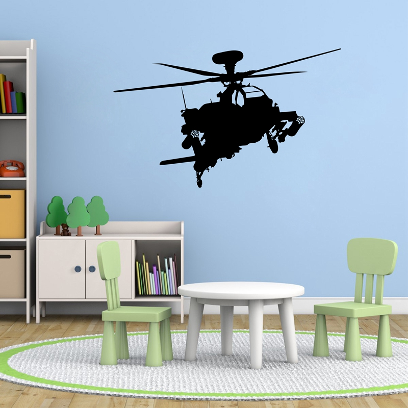 Apache Helicopter Vinyl Wall Decal Sticker Military Kids Airplane Gun art decor