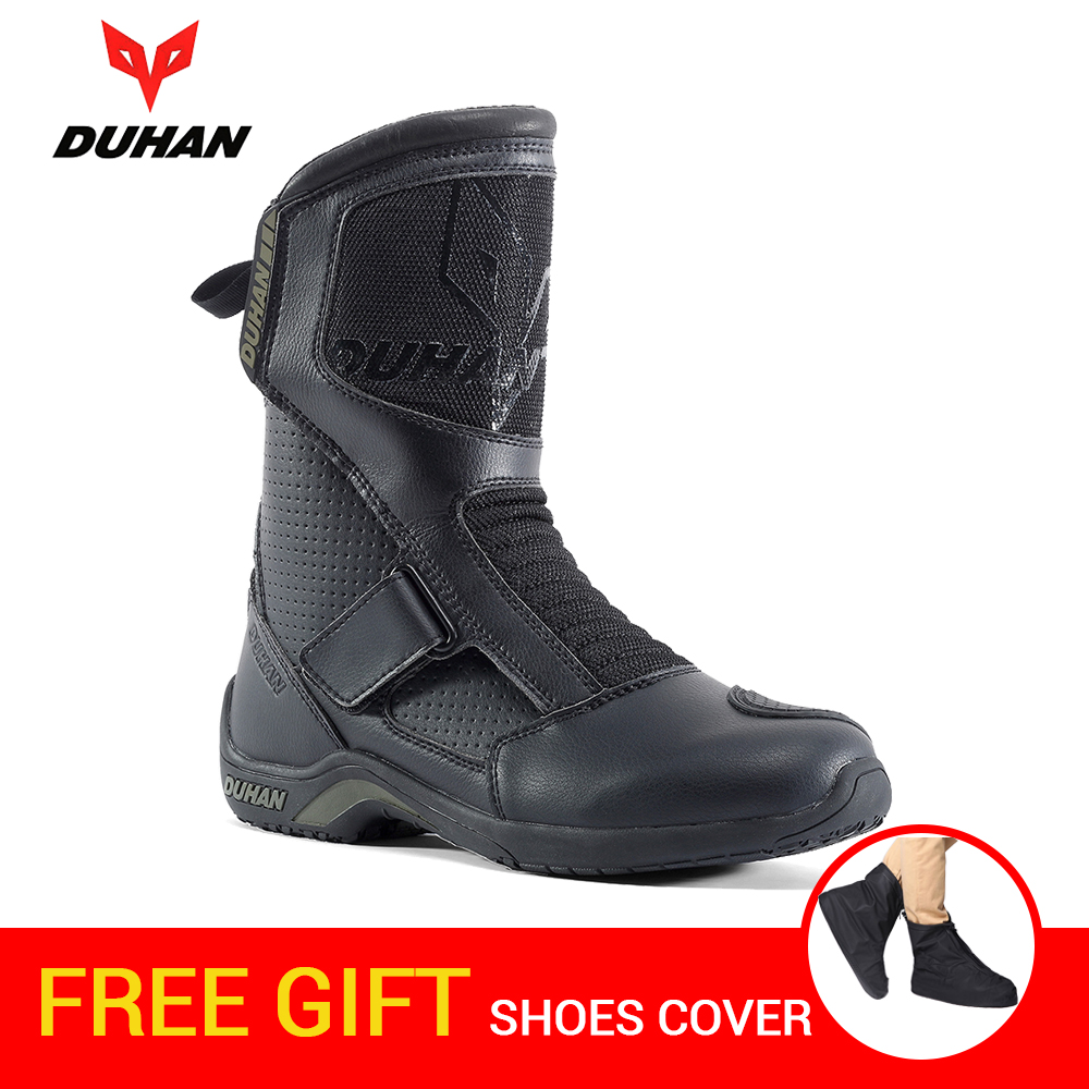 DUHAN Motorcycle Boots Men Superfiber Motorcycle Road Racing Motorcycle Shoes Bota Motociclista Moto Motocross Riding Boots motorcycle riding shoes men s waterproof spring anti falling knights boots cross country racing shoes road locomotive boots