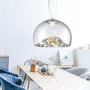 Image 3 - Дизайнерсветодиодный монолитный блок светодиодов D40 см 110 В 220 В 3000 К теплый белый 12 Вт Золотой/Серебряный горный прозрачный стеклянный подвесной светильник Подвесная лампа