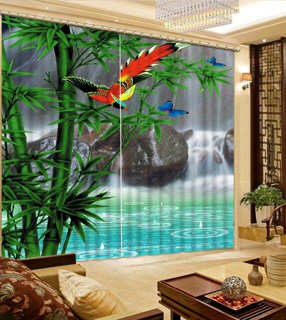 Vorhange Luxus Benutzerdefinierte 3d Vorhange Bambus Wasserfall