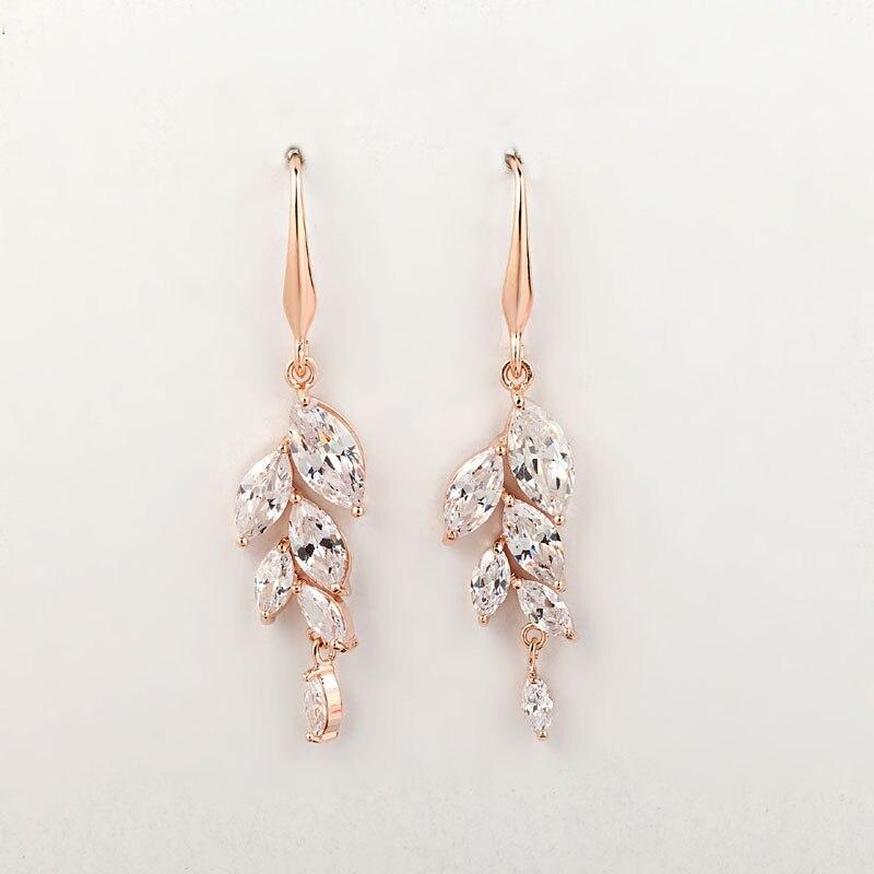8.5cm Length Long Bridal Diamante Floral Drop Earrings