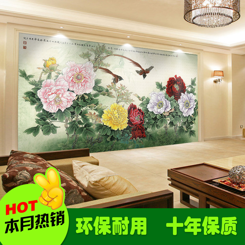 Hot New art stickers TV Sofa wallpaper non-woven fabric custom wall paper large mural 3d chinese style painting peony home decor 1897art large murals3d can be custom made furniture decorative wallpaper house ornamentation decor wall stickers chinese style