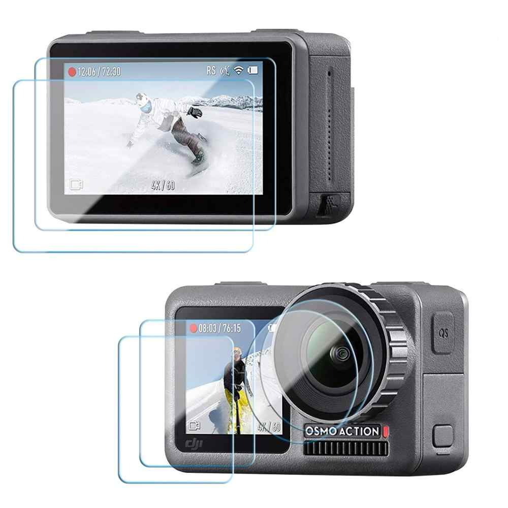 Screen Protector for DJI OSMO Action Camera Accessories,9D Full Curved Tempered Glass Film for Front & Rear Screen & Lens Screen
