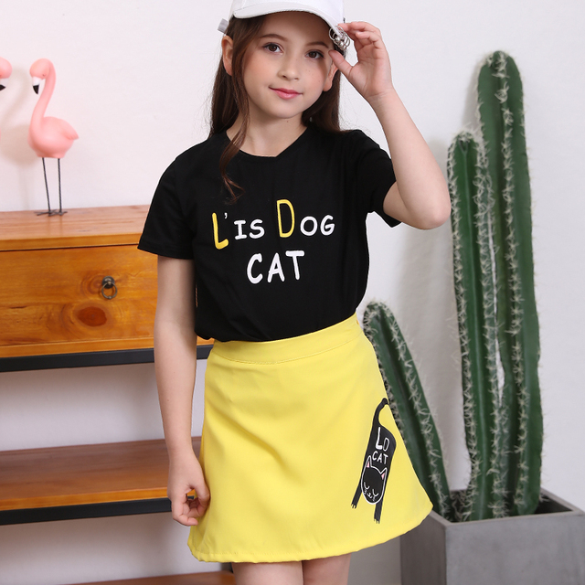 Girls Clothing Sets Summer 2018 Children s Black Short-sleeved  T-shirt+Yellow Skirts 3f97d9a8e