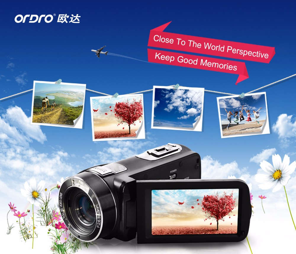 "Ordro Camcorder HDV-Z8 Plus 1080P FHD Digital Video Camera 3.0"" LCD Touch Screen with Remote Control USB Port HDMI Output 1"