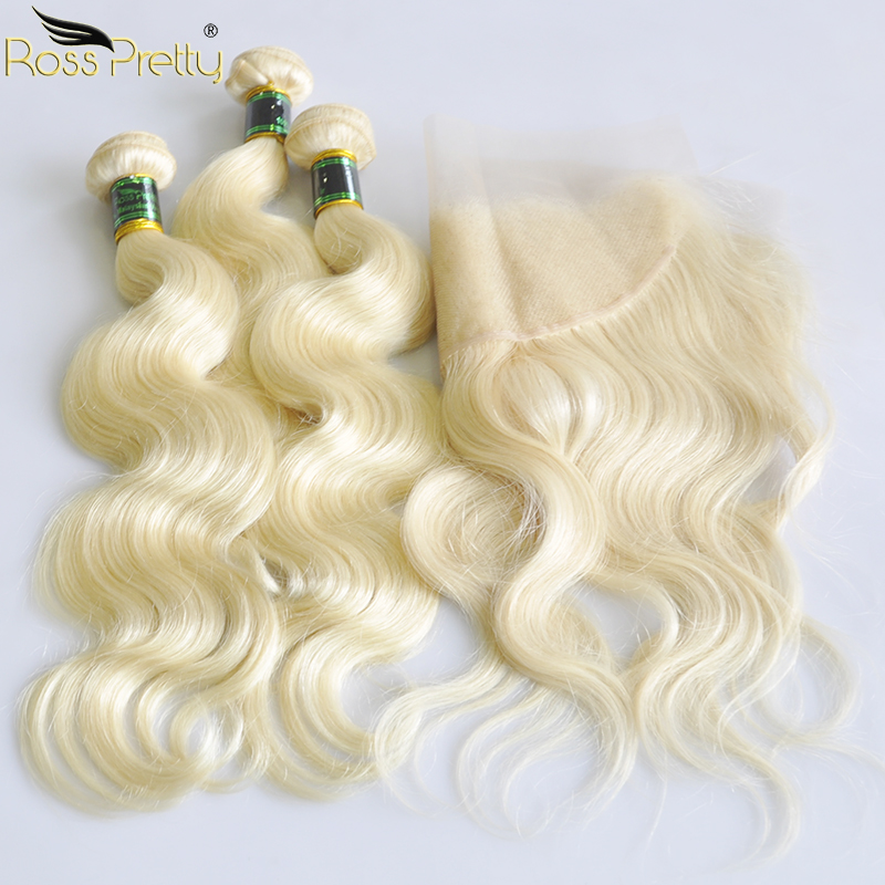 Ross Pretty Remy Hair Bundles With Frontal Blonde Human Hair Malaysian Body Wave Color 613 Frontal with Hair Extension image