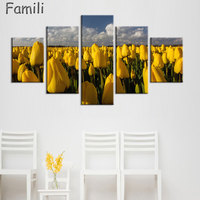 HD Prints Modular Pictures Home Decor Poster 5 Pieces Beauty Pink Flowers Canvas Paintings Living Room